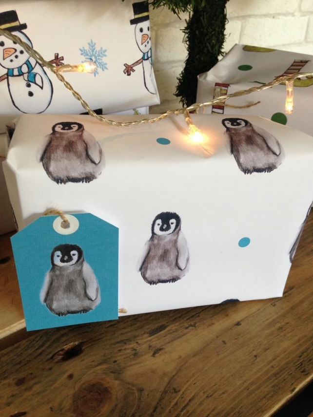 Baby penguin, penguin wrapping paper, gift wrap, Christmas paper