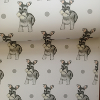 Schnauzer, wrapping paper, gift wrap, for schnauzer lovers, for dog lovers