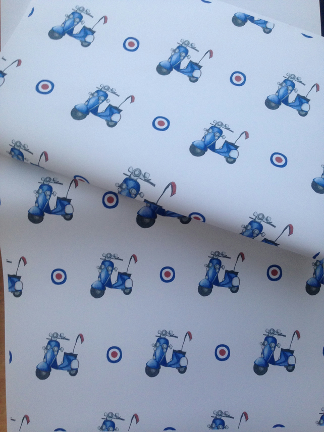 Scooter ,wrapping paper, gift wrap, for scooter lovers, mods,