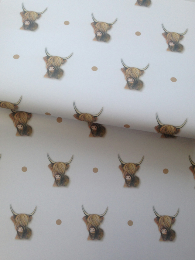 Highland cow, wrapping paper, gift wrap, for highland cow lovers