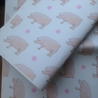 Pig,  wrapping paper, gift wrap, for pig lovers ,for pig farmers
