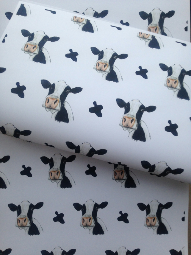 Cow ,wrapping paper, gift wrap, for cow lovers ,for cow farmers