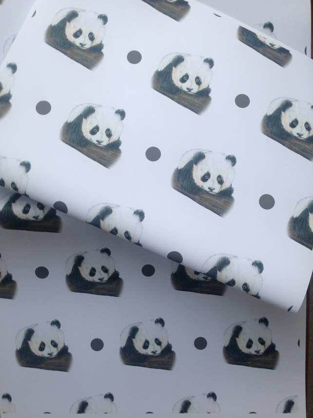 Panda wrapping paper, gift wrap, for panda lovers, pandas