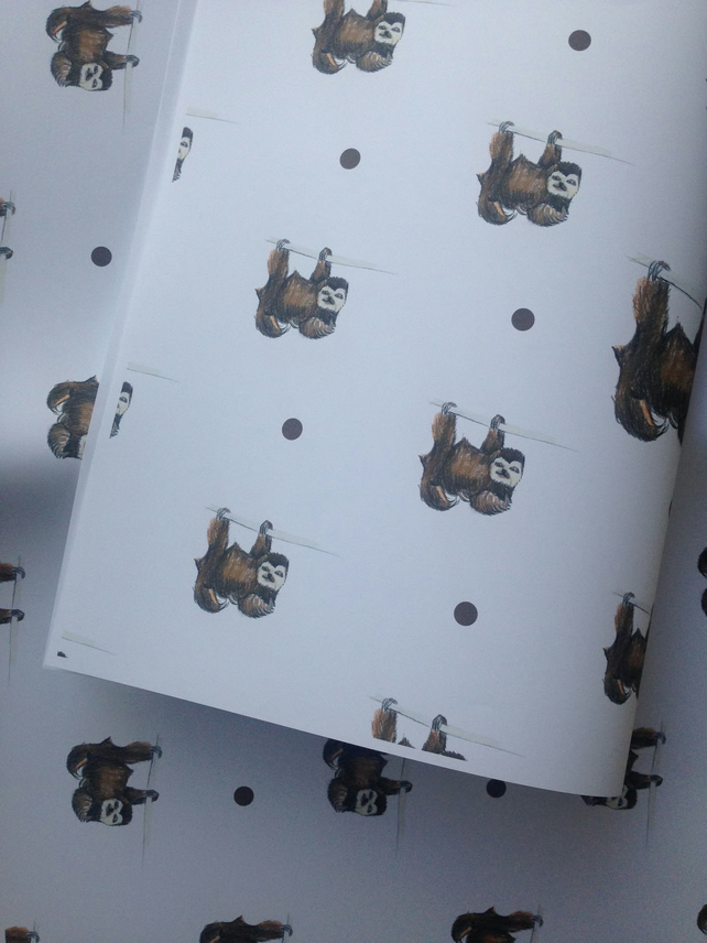 Sloth, wrapping paper, gift wrap, for sloth lovers