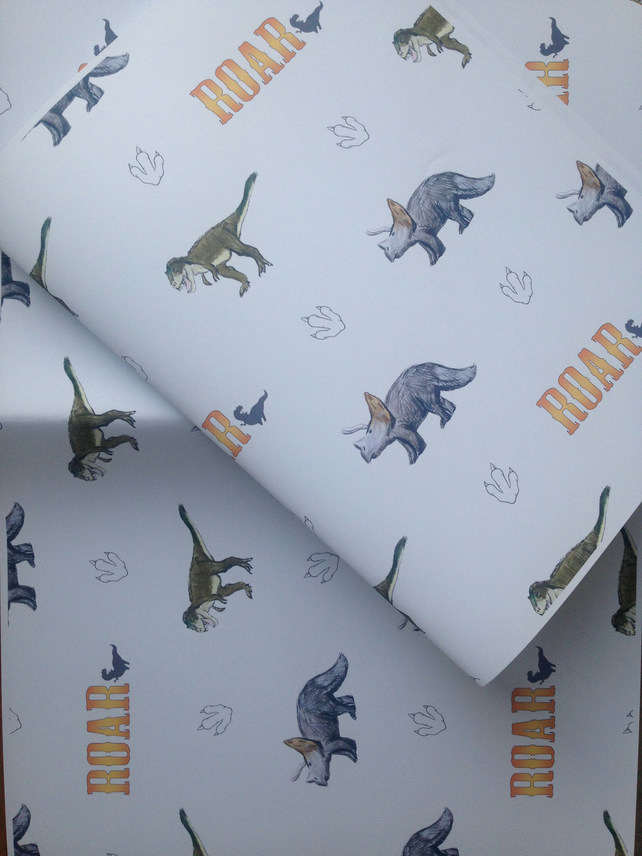 Dinosaur wrapping paper, gift wrap, for dinosaur lovers