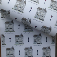 House, wrapping paper, gift wrap, for housewarming ,new home