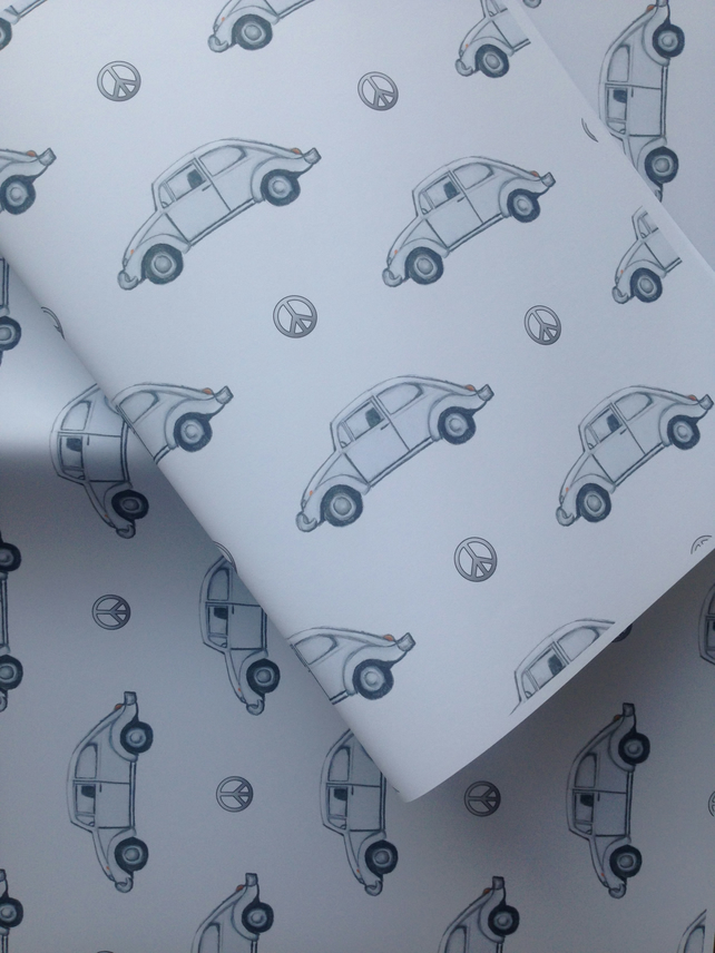 Beetle car, wrapping paper, gift wrap, for beetle lovers , retro car,