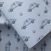 Beetle car, wrapping paper, gift wrap, for beetle lovers