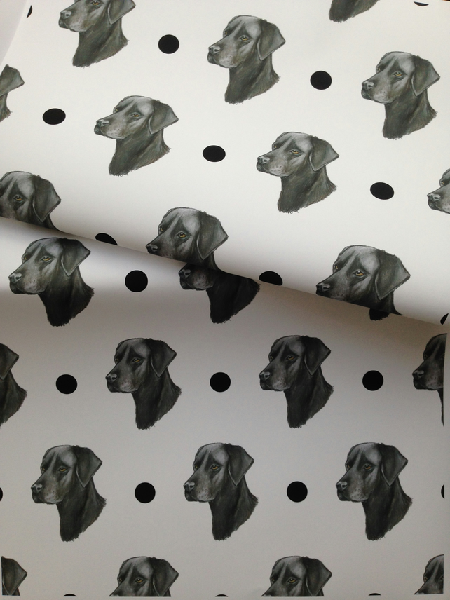 Black Labrador, wrapping paper, gift wrap, for dog lovers,for Labrador lovers