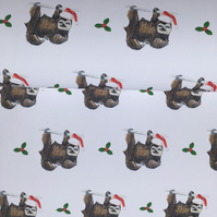 Sloth, Santa sloth, wrapping paper, gift wrap, Christmas paper, for sloth lovers