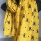 Bee, bumble bee, scarf, yellow scarf, for bee lovers, for bee keepers, bee gift