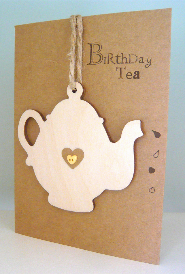 Birthday Tea Teapot Card With Wooden Decoration Folksy