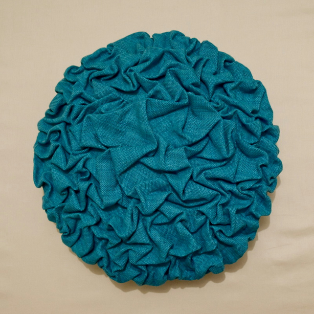 Turquoise linen mix cushion