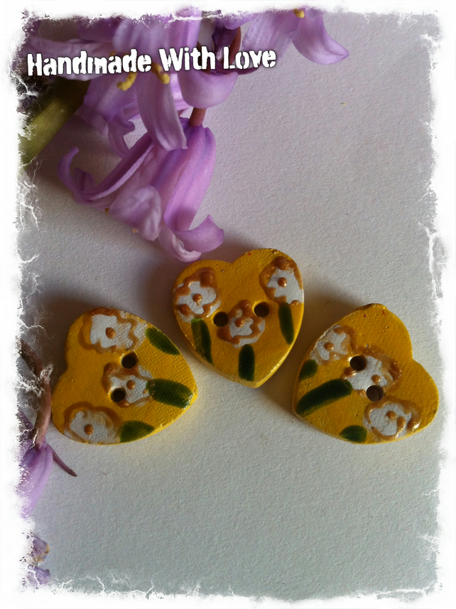 Handmade Stoneware Ceramic Buttons. Set of 3 Heart  Yellow Flower Buttons 18mm