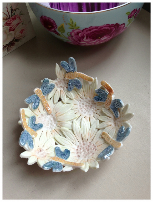 Flower Porcelain flower dish.