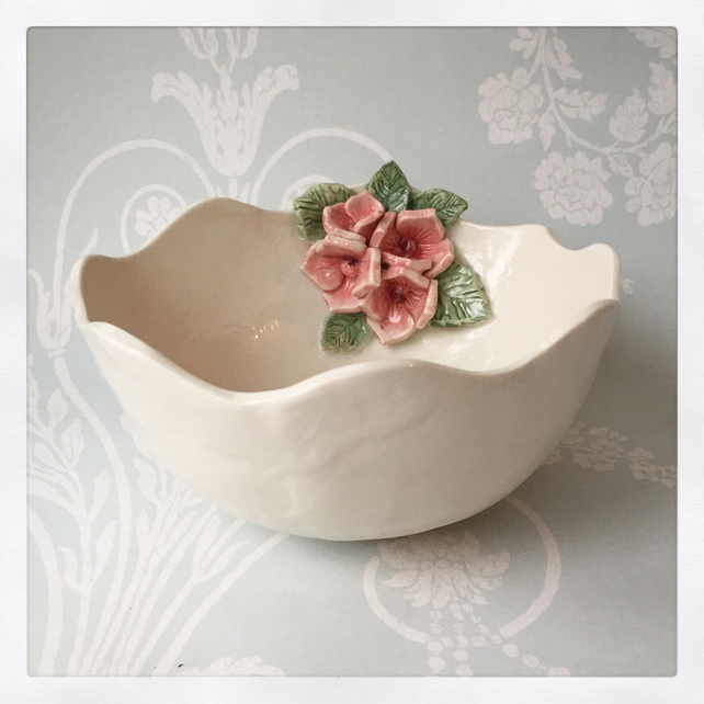 SALE Gorgeous porcelain hydrangea flower bowl, wedding, birthday gift.
