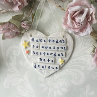 Ceramic heart plaque, Porcelain  SALE