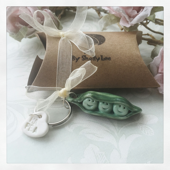 Porcelain peas in pod key ring, gift, Mother's Day.