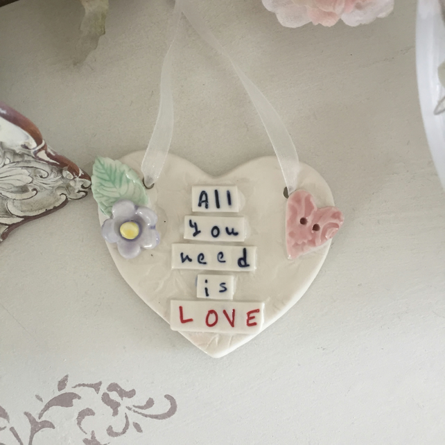 Ceramic porcelain heart plaque, All you need is Love