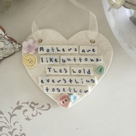 Ceramic heart plaque, Mother buttons. Porcelain