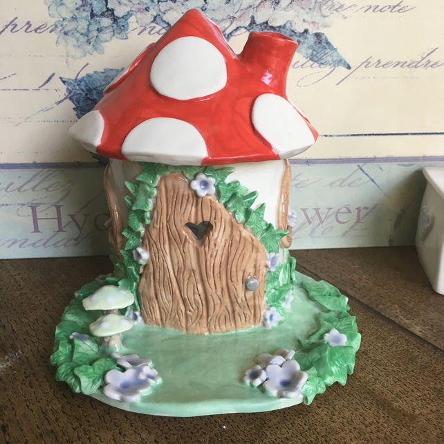 Ceramic porcelain fairy toadstool  house light, lamp, pixies palace SALE