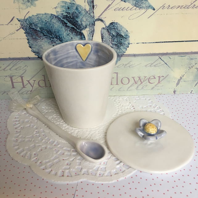 Handmade porcelain lidded pot with spoon