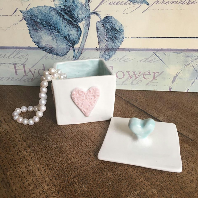 Handmade porcelain box. Jewellery, trinket box