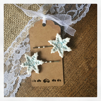 Handmade porcelain Snowflake hair slides. OFFER