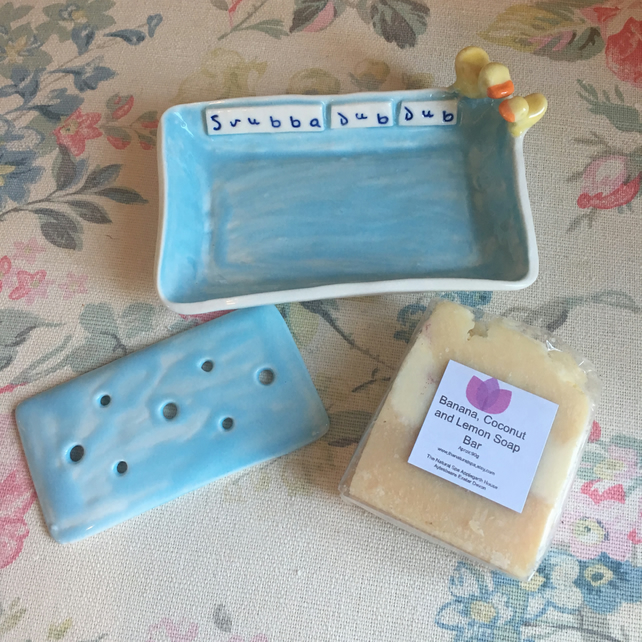 beautiful handmade porcelain soap dish with handmade vegan soap