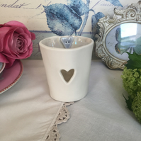 Handmade porcelain tea light holder with heart detail