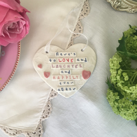 Ceramic heart plaque, Here's to Love.. Porcelain. Wedding