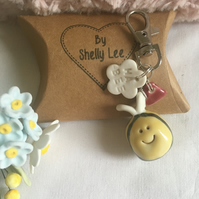 NEW bumble bee bag charm-keyring. Porcelain Mother's Day