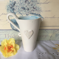 Handmade porcelain heart jug medium SALE