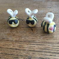 NEW limited Cool bumble bee bag charm-keyring. Porcelain