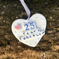 Porcelain heart, wedding anniversary 25 years together