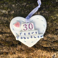Porcelain heart, wedding anniversary 30 years together