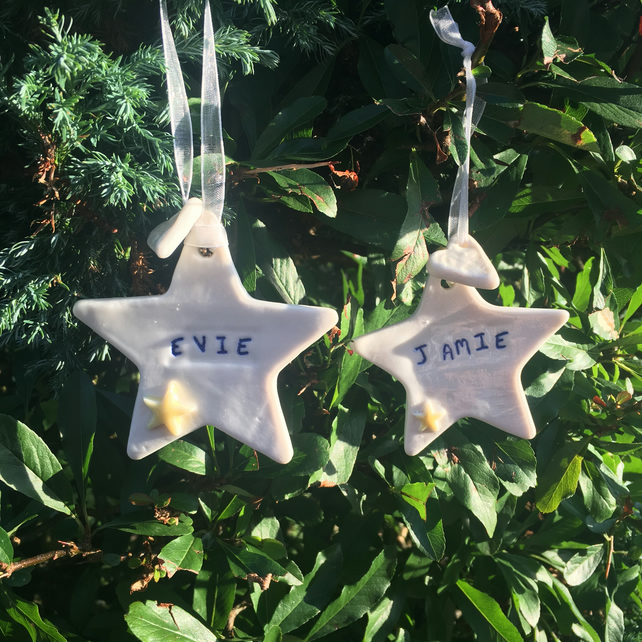 Personalised Porcelain hanging star. Christmas.