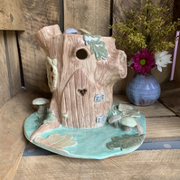 Ceramic porcelain fairy log house light, lamp, pixies palace