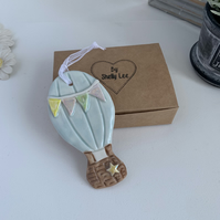 Porcelain hanging hot air balloon decoration. Christmas.