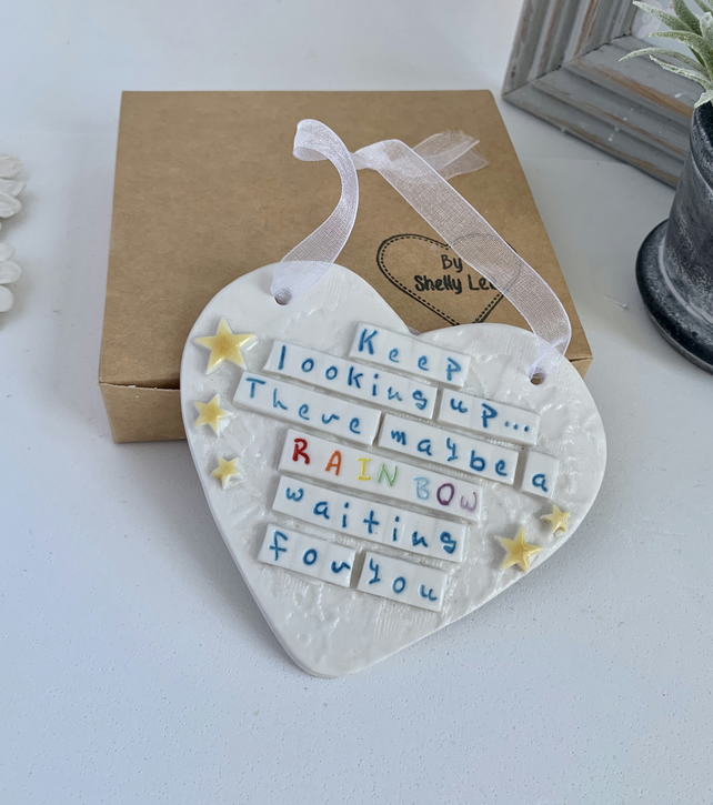 Ceramic heart plaque, look for rainbows.. Porcelain