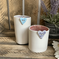 Porcelain tea light holders set of two with button detail