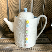 Handmade porcelain button teapot