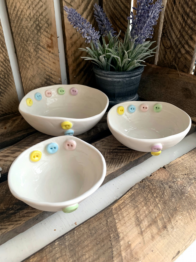 Handmade porcelain trinket button dish set of three