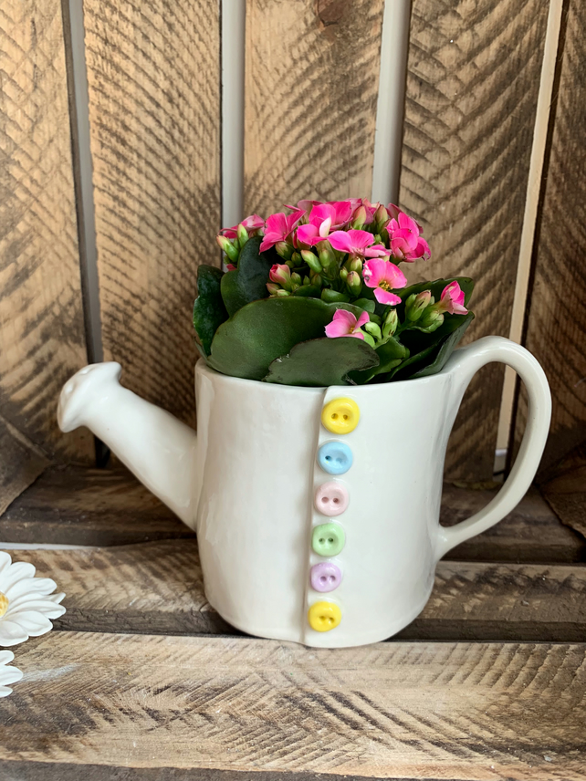 Handmade porcelain watering can planter, mother's Day gift