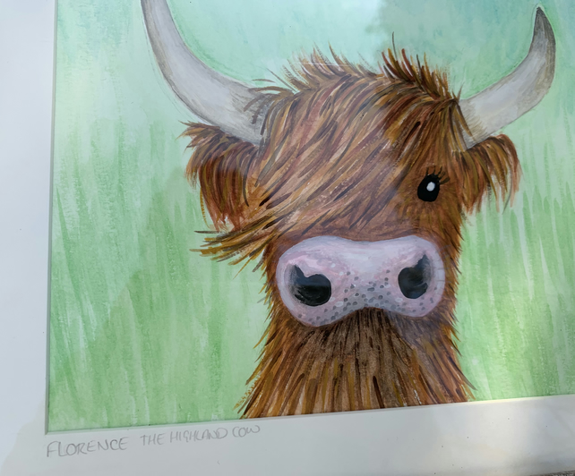 Florence The Highland cow. Original framed watercolour painting