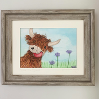 Horace The Highland cow. Original framed watercolour painting