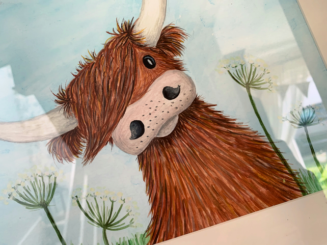 Barnard The Highland cow. Original framed watercolour painting