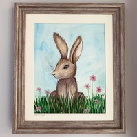 SALE  Penelope the Hare, Original framed watercolour painting