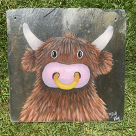 Cow on slate plaque. Hand painted original