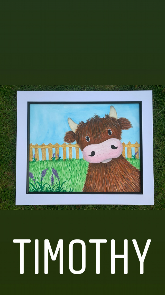 Timothy The Highland cow. Original framed watercolour painting